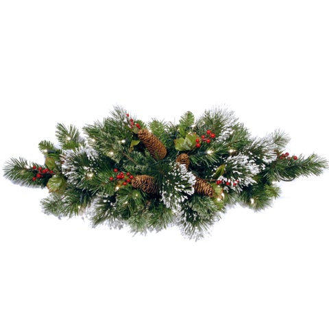 32-inch Wintry Pine Table Piece with 35 Warm White LED Timer Lights