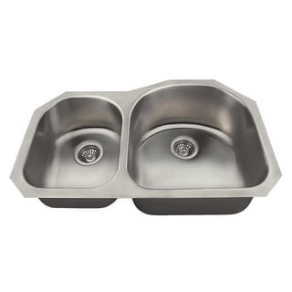MR Direct US1031 Offset Double Bowl Stainless Steel Kitchen Sink