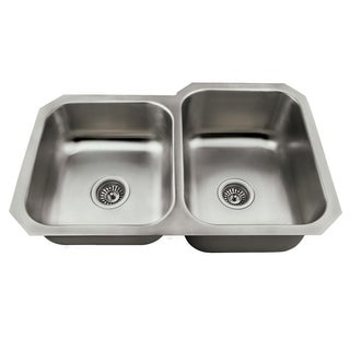 MR Direct US1053 Offset Double Bowl Stainless Steel Kitchen Sink