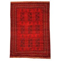 Herat Oriental Afghan Hand-knotted Tribal Balouchi Red/ Navy Rug - 6'6 x 9'4