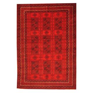 Herat Oriental Afghan Hand-knotted Tribal Balouchi Red/ Black Rug (6'6 x 9')