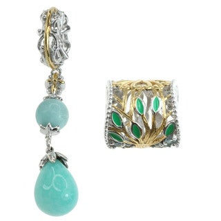 Michael Valitutti Sterling Silver, Amazonite and Sky Blue Topaz Charm Set