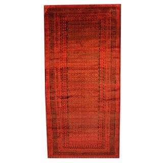 Herat Oriental Afghan Hand-knotted Tribal Balouchi Red/ Black Rug (5'7 x 11'7)