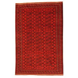 Herat Oriental Afghan Hand-knotted Tribal Balouchi Red/ Navy Rug (5'11 x 9')