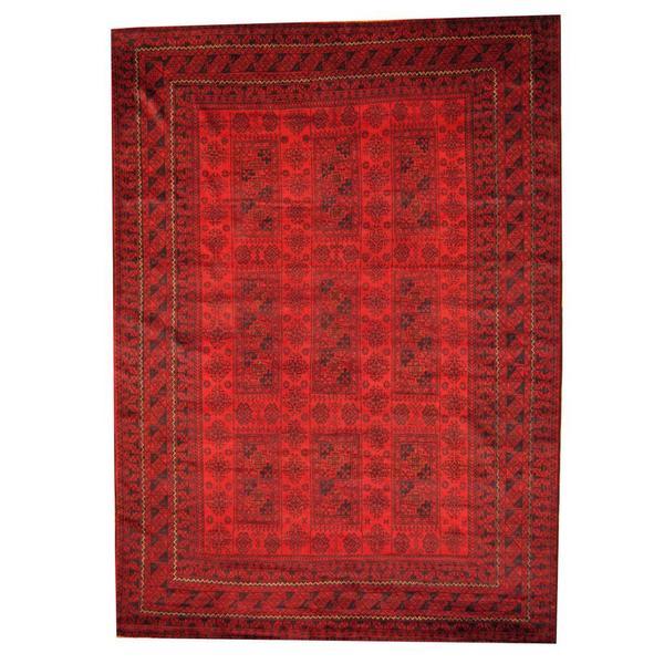 Handmade Herat Oriental Afghan Tribal Balouchi Red/ Black Wool Rug - 7'3 x 10'2 (Afghanistan)