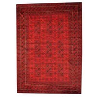 Herat Oriental Afghan Hand-knotted Tribal Balouchi Red/ Black Wool Rug (7'3 x 10'2) - 7'3 x 10'2