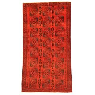 Herat Oriental Afghan Hand-knotted Tribal Balouchi Red/ Navy Rug (5'7 x 10'6)