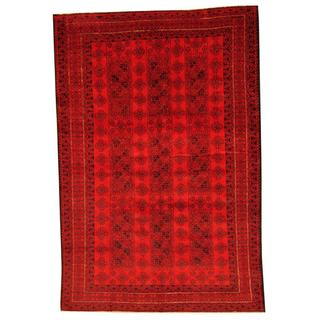 Herat Oriental Afghan Hand-knotted Tribal Balouchi Red/ Ivory Rug (6'4 x 9'4)