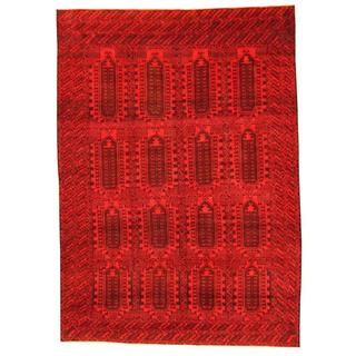 Herat Oriental Afghan Hand-knotted Tribal Balouchi Red/ Brown Rug (6'4 x 8'10)