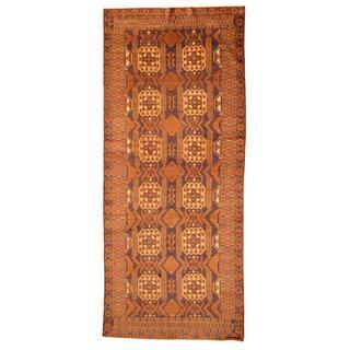 Herat Oriental Afghan Hand-knotted Tribal Balouchi Purple/ Blue Rug (4'10 x 11'7) - 4'10 x 11'7