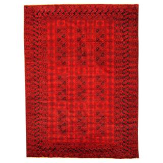 Herat Oriental Afghan Hand-knotted Tribal Balouchi Red/ Black Rug (6'10 x 9'5)