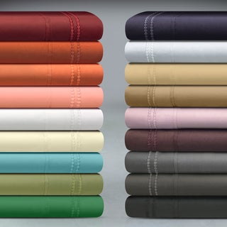Superior Wrinkle Resistant Embroidered 2-line Sheet Set with Gift Box
