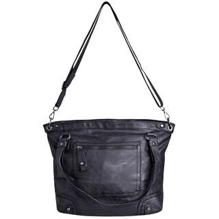 J. Furmani Women's Black Classy Decorative Stitching Tote Handbag