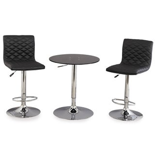 Black Acrylic Adjustable Height 3-piece Pub Table Set
