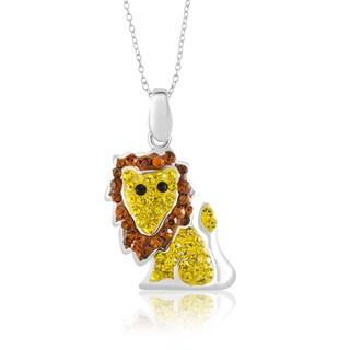 Silvertone Brass Crystal Lion Pendant 18-Inch Necklace