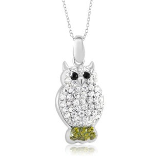 Sterling Silver-plated Crystal Owl Pendant 18-inch Necklace