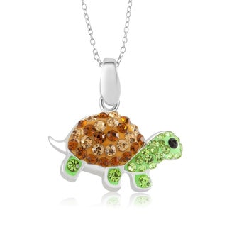 Sterling Silver-plated Crystal Turtle Pendant 18-inch Necklace