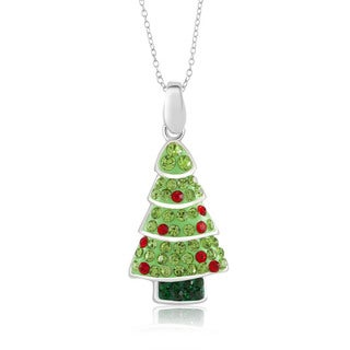 Sterling Silver-plated Crystal Christmas Tree Pendant 18-inch Necklace