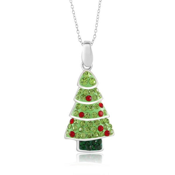 sterling silver plated crystal christmas tree pendant 18 inch necklace - Silver Plated Christmas Tree Decorations