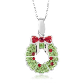 Sterling Silver-plated Crystal Wreath Pendant 18-inch Necklace