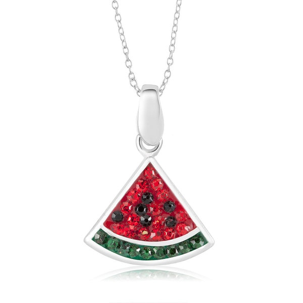 """Sterling Silver Plated Crystal Watermelon Pendant 18"""" Necklace"""