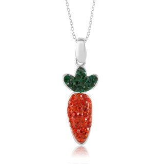 Sterling Silver-plated Crystal Carrot Pendant 18-inch Necklace