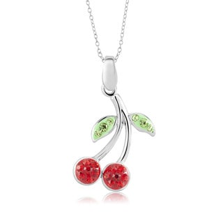 Silvertone Brass Crystal Cherries Pendant 18-Inch Necklace