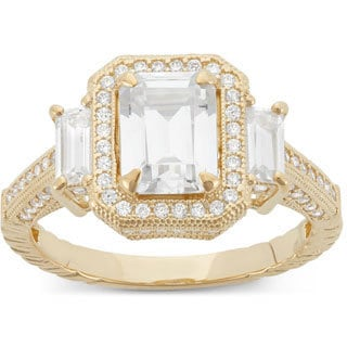 Gioelli 10k Yellow Gold Multi-shaped Cubic Zirconia Engagement Ring