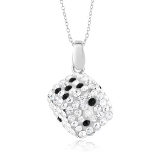 Silvertone Plated Brass Crystal Dice Pendant Necklace