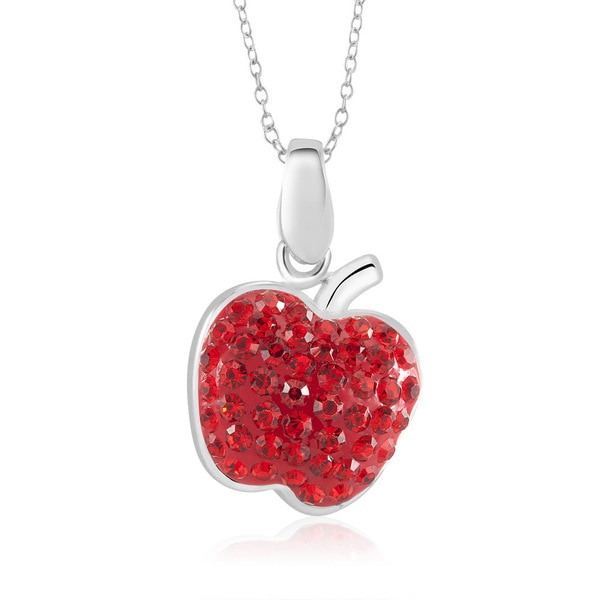 Sterling Silver Plated Crystal Apple Pendant 18-inch Necklace