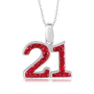 Sterling Silver Plated Crystal '21' Pendant 18-inch Necklace