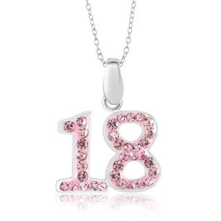 Sterling Silver-plated Crystal '18' Pendant Necklace