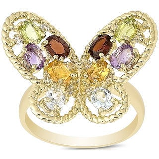 Dolce Giavonna Gold Over Sterling Silver Multi Gemstone Butterfly Ring