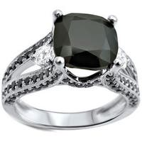 Noori 14k White Gold 3 3/4ct TDW Black Cushion-cut Diamond Engagement Ring