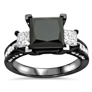 Noori 14k Black Gold 3 1/2ct TDW Black and White Diamond 3-stone Engagement Ring