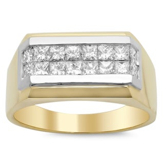 14k Yellow Gold Men's 1 1/2 ct TDW Diamond Ring (E-F, VS1-VS2)