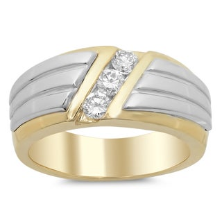 14k Two-tone Gold Men's 1/2ct TDW Diamond Ring (F-G, SI1-SI2)