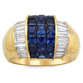 14k Yellow Gold 1 2/5ct TDW Diamond and 2 3/4ct Sapphire Ring (F-G, SI1-SI2)