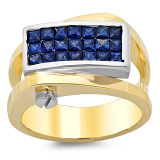 14k Two-tone Gold Sapphire Ring