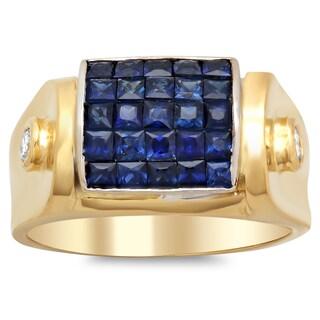 18k Yellow Gold 1/6ct TDW Diamond Sapphire Ring (F-G, SI1-SI2)