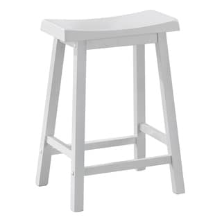 White Saddle Seat Counter Stools (Set of 2)