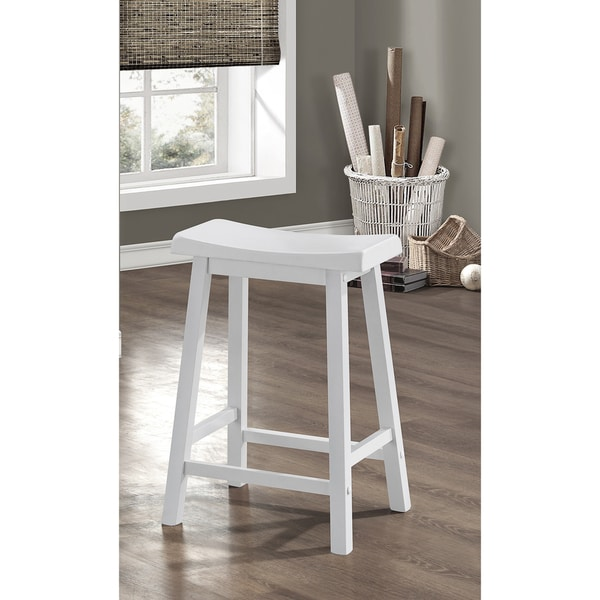 Shop White Saddle Seat Counter Stools Set Of 2 Free