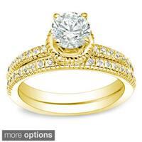 Auriya 14k Gold 1ct TDW Certified Round Diamond Bridal Ring Set
