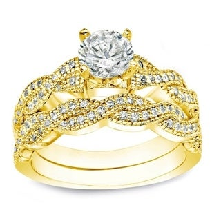 Auriya 14k Gold 1ct TDW Certified Round Diamond Bridal Ring Set