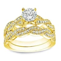 Auriya 14k Gold 1ct TDW Certified Round Braided Diamond Engagement Ring Set