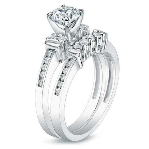 Auriya 14k Gold 1ctw Diamond Engagement Ring Set 14k Gold