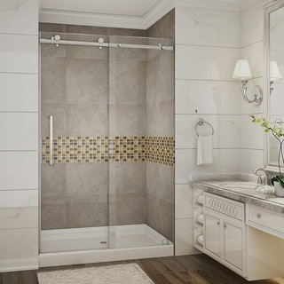 Aston Moselle 48-in x 77.5-in Completely Frameless Alcove Sliding Shower Door in Chrome w. Base