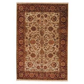 Herat Oriental Indo Hand-knotted Mahal Beige/ Burgundy Wool Rug (6' x 9'1)