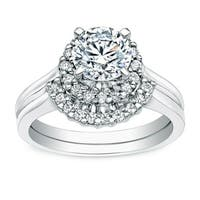 Auriya 14k Gold 1ct TDW Round Halo Diamond Engagement Ring Wedding Band Set