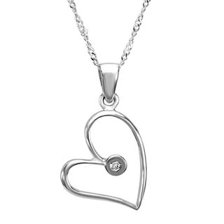 14k White Gold Round-cut Diamond Accent Heart Pendant